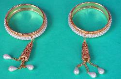 gargi jeweles Gold Plated Pearl Studded hanging Bangles Set For Women and Girls