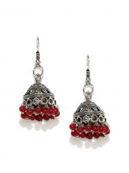gargi jewels Silver-Toned Textured Jhumka Earrings
